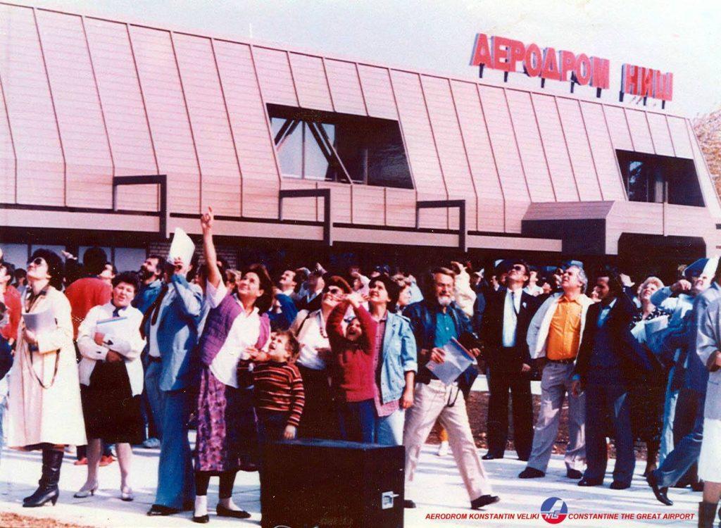 """Otvaranje Aerodroma Niš 1986. godine; foto: Aerodrom """"Konstantin Veliki"""" Niš"""